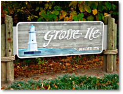 Grosse Ile entryway sign
